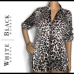White House Black Market Silk Cheetah Print Blouse